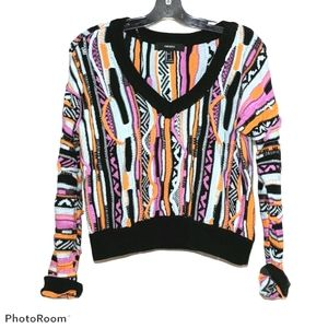 Coogi inspired multicolor textured crop sweater s